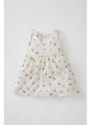 DeFacto Kız Bebek Çiçekli Dokulu Kolsuz Elbise Oranj
